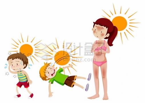 炎热夏天大太阳下热晕晒黑的卡通人物706502png图片素材