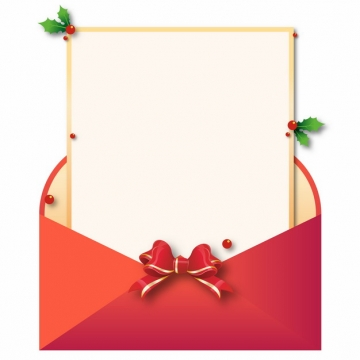 打开的红色信封和里面的圣诞节信纸164886图片免抠素材