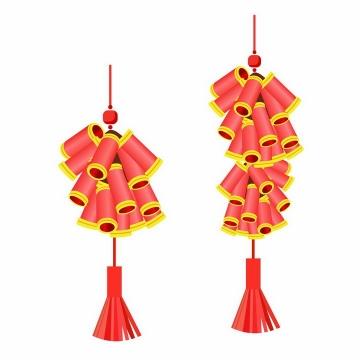 两串简约红色鞭炮金边装饰新年挂饰图片免抠AI矢量素材