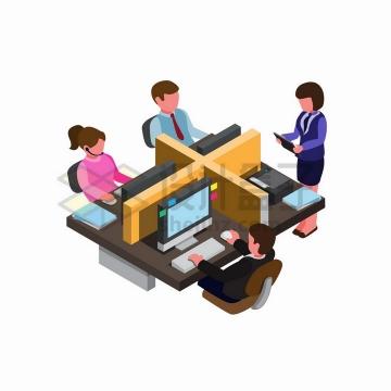 2.5D风格办公室隔间隔断png图片免抠矢量素材