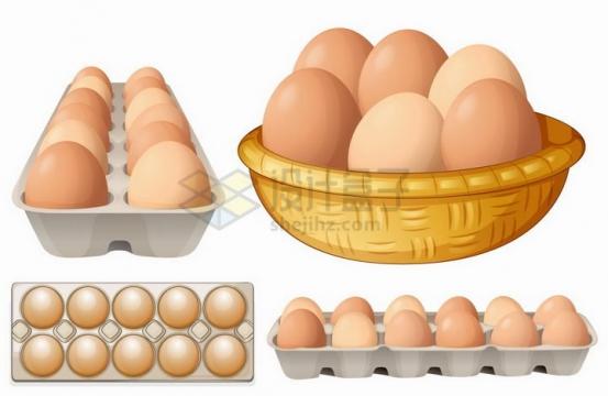 4款放在竹篮和蛋托中的鸡蛋png图片免抠矢量素材