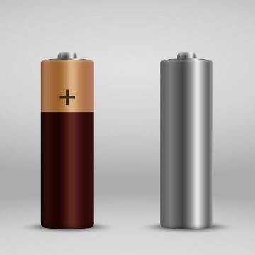 逼真的电池和无包装的碱性电池免扣图片素材
