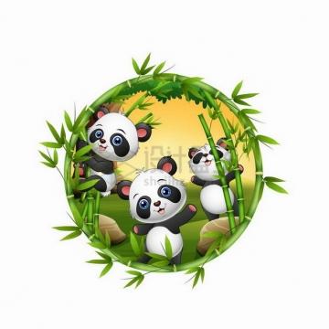 竹子组成的圆形框中的卡通熊猫png图片免抠矢量素材