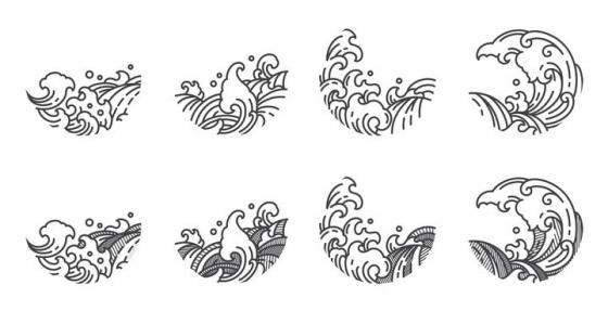8款中国风传统波浪海浪线条图案图片免抠矢量图素材
