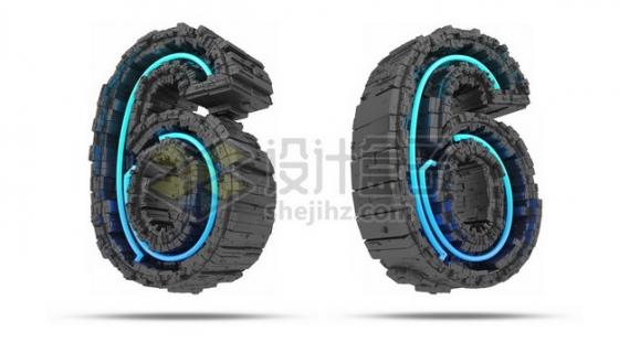 C4D风格蓝色灯光黑色科幻3D立体数字六6艺术字体256132psd/png图片素材