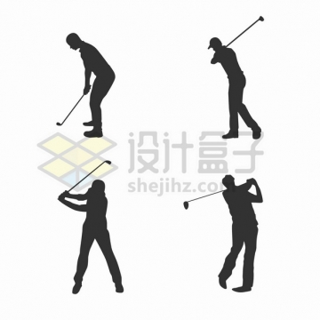 4款挥舞高尔夫球杆打球的人物剪影体育运动png图片素材