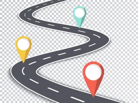 蜿蜒的公路道路定位标志图片免抠矢量图