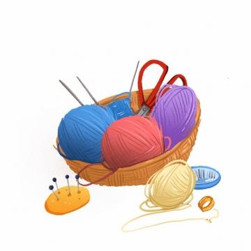 竹篮中的毛线球剪刀缝衣针水彩插画975193png图片素材