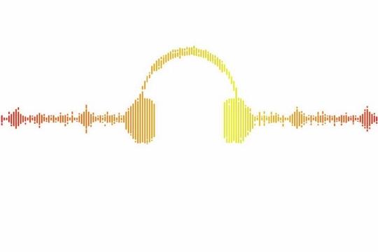 声音声波组成的耳机图案png图片免抠eps矢量素材