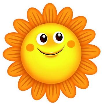 可爱卡通风格的向日葵笑脸图片免抠素材