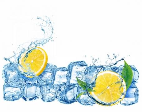 蓝色冰块和柠檬纯净水液体效果924014png图片素材