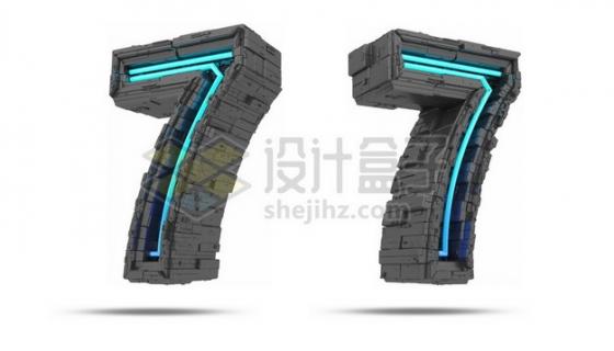 C4D风格蓝色灯光黑色科幻3D立体数字七7艺术字体875584psd/png图片素材