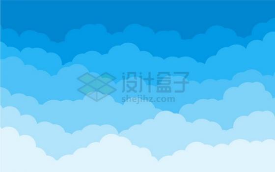 卡通分层蓝色云朵背景图png图片素材