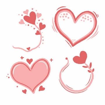 4款涂鸦风格的手绘粉红色红心符号图案png图片免抠eps矢量素材