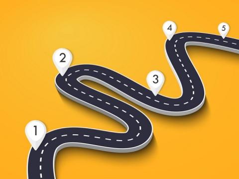 立体蜿蜒的公路道路和白色定位标志图片免抠矢量图