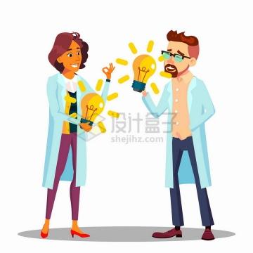 两个卡通医生科学家拿着电灯泡象征有创意想法png图片免抠矢量素材