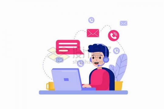 卡通客服人员正在电脑上和客户沟通解决问题扁平插画png图片免抠矢量素材