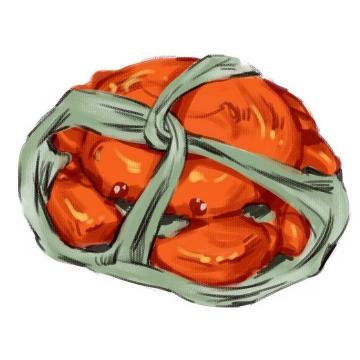 手绘风格绑着的大闸蟹螃蟹美食图片免抠素材