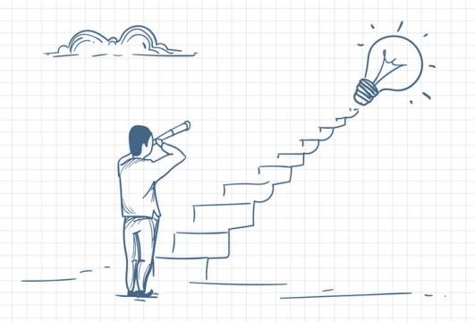 圆珠笔画涂鸦风格拿着望远镜观望台阶上象征点子的电灯泡职场人际交往配图图片免抠矢量素材