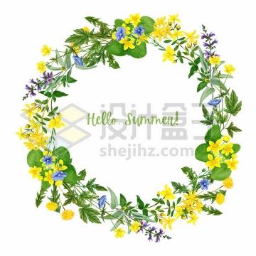 油菜花迎春花等黄色花朵鲜花野花组成的花环彩绘插画png图片免抠矢量素材