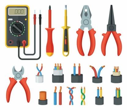 各种万用表电笔老虎钳电线电缆解剖结构图png图片免抠eps矢量素材