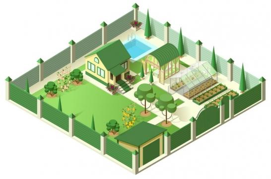 2.5D风格有围墙的小别墅农场图片免抠矢量素材
