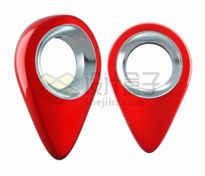 逼真的银色金属镂空3D立体红色定位标志符号png图片素材