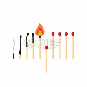燃烧成灰烬的火柴盒正在燃烧的火柴棒png图片免抠矢量素材
