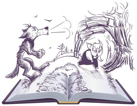 卡通动画插画简笔画风格翻开书本里三只小猪的故事图片免抠矢量素材