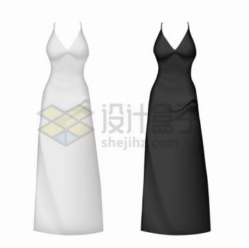 白色黑色晚礼服连衣裙修身裙子png图片素材