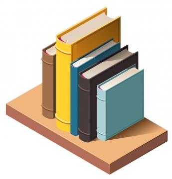 2.5D风格木板上的竖直放的书籍图书图片免抠矢量素材