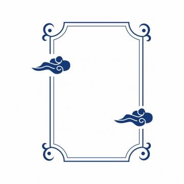 中国风蓝色方框和祥云图案936544免抠图片