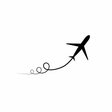简约飞机拖着螺旋线的尾迹图案png图片免抠矢量素材