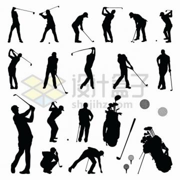各种挥舞高尔夫球杆打球的人物剪影和高尔夫球装饰体育运动png图片素材