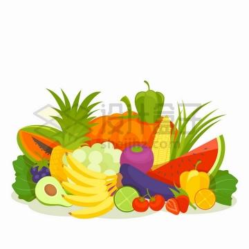 堆放在一起的香蕉牛油果哈密瓜西红柿西瓜茄子辣椒等蔬菜水果扁平插画png图片免抠矢量素材