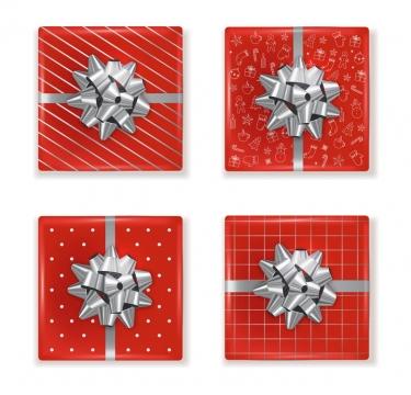 4种银色蝴蝶结风格红色礼品盒礼物盒包装图片免抠矢量素材