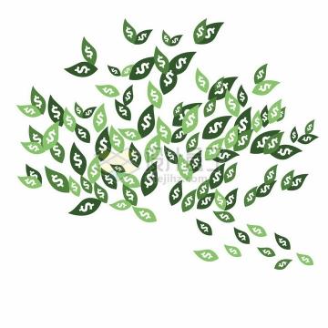 印有美元符号的树叶摇钱树叶子png图片素材