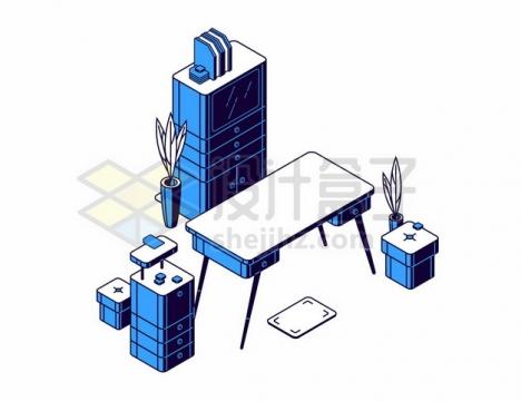 2.5D风格电脑桌文件柜等529036png图片素材