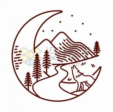 抽象线条月亮上的森林高山和嚎叫的森林狼手绘插画png图片免抠矢量素材