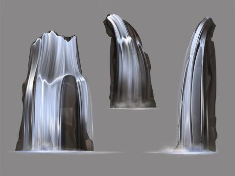 3款流淌的河水瀑布效果图片免抠矢量素材