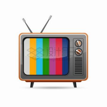 显示彩色条纹的复古卡通电视机png图片免抠矢量素材