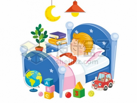 卡通男孩躺在床上睡觉晚安804667png矢量图片素材
