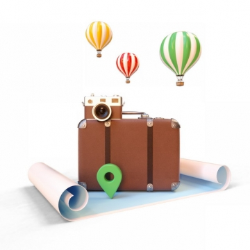 C4D风格3D立体行李箱热气球照相机世界地图等旅行装备930831png图片素材
