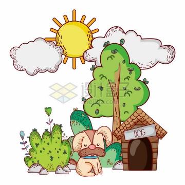 超可爱卡通太阳云朵大树下的小狗和它的房子png图片免抠矢量素材