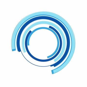 蓝色线条长条组成的圆环装饰png图片免抠ai矢量素材