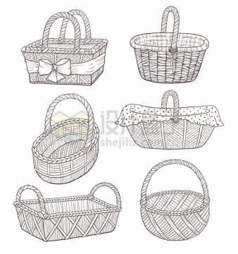 6款线条编织篮子竹篮野餐篮png图片素材