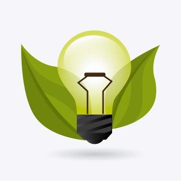 绿叶和灯泡绿色生态城市节能环保主题图片免抠素材