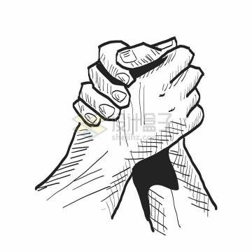 线条素描风格握手扳手腕团结合作共赢png图片素材