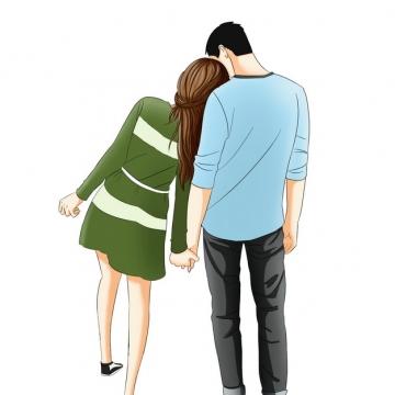 手牵手靠在一起的情侣背影情人节撒狗粮683165png图片素材