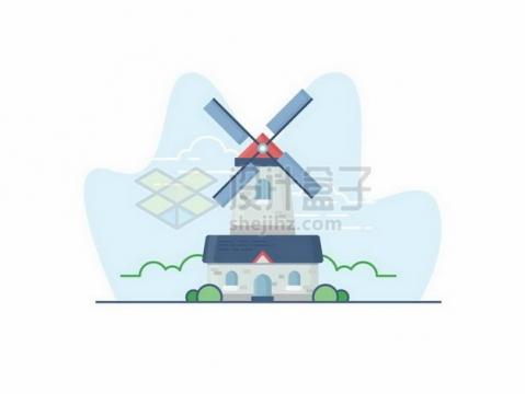 卡通大风车扁平插画907507png矢量图片素材